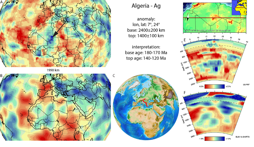 Figure A4. Algerian anomaly, interpreted as the Algerian slab, with (horizontal) [vertical] cross sections through (A)[D] the UUP07 p-wave) and (B)[D] the combined SL2013 and S40RTS s-wave models at 1990 km; C) the location of the modern geological record that we interpret to have formed during the subduction of the slab.