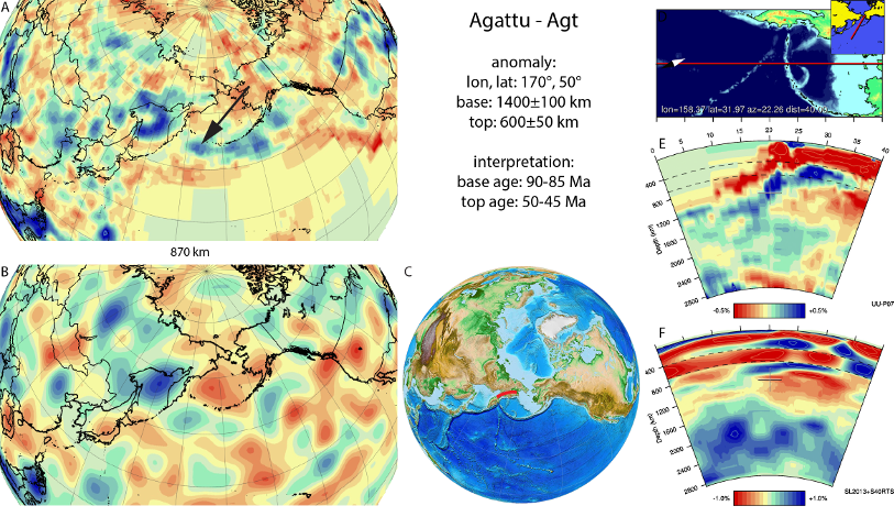 Figure A2.Agattu anomaly, interpreted as the Agattu slab, with (horizontal) [vertical] cross sections through (A)[D] the UUP07 p-wave) and (B)[D] the combined SL2013 and S40RTS s-wave models at 870 km; C) the location of the modern geological record that we interpret to have formed during the subduction of the slab.