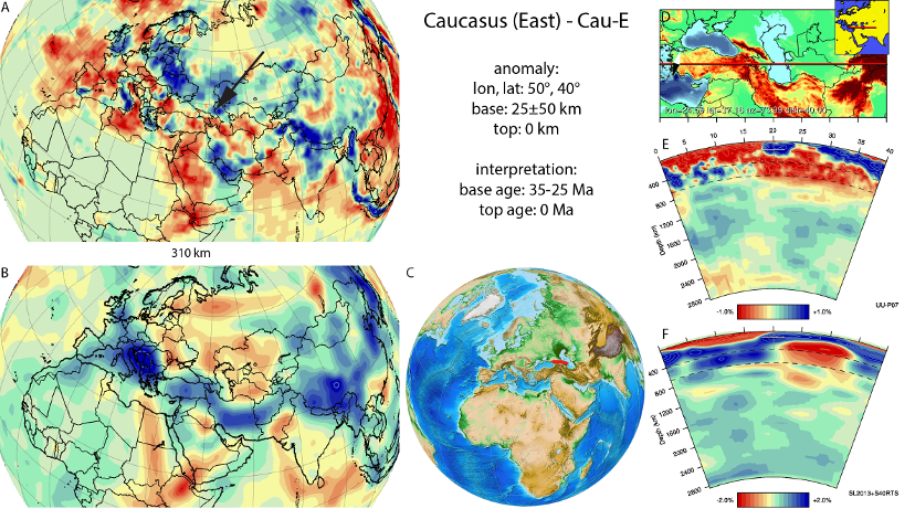 Figure A26b. Caucasus East anomaly, interpreted as the Caucasus East slab, with (horizontal) [vertical] cross sections through (A)[D] the UUP07 p-wave) and (B)[D] the combined SL2013 and S40RTS s-wave models at 310 km; C) the location of the modern geological record that we interpret to have formed during the subduction of the slab.