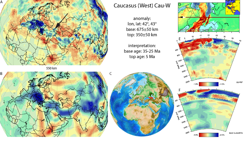 Figure A26a. Caucasus West anomaly, interpreted as the Caucasus West slab, with (horizontal) [vertical] cross sections through (A)[D] the UUP07 p-wave) and (B)[D] the combined SL2013 and S40RTS s-wave models at 550 km; C) the location of the modern geological record that we interpret to have formed during the subduction of the slab.