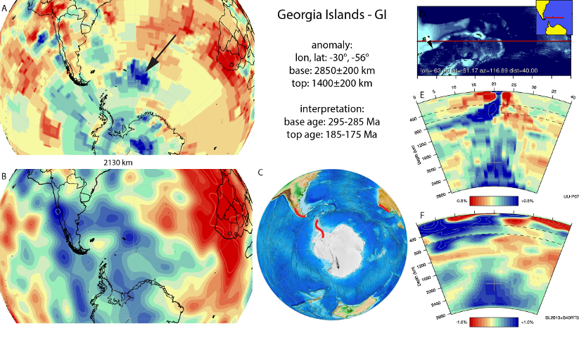 Figure A33. Georgia Islands anomaly, interpreted as the Georgia Islands slab, with (horizontal) [vertical] cross sections through (A)[D] the UUP07 p-wave) and (B)[D] the combined SL2013 and S40RTS s-wave models at 2130 km; C) the location of the modern geological record that we interpret to have formed during the subduction of the slab.