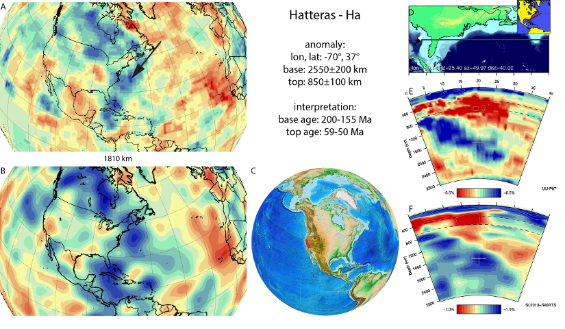 Figure A37. Hatteras anomaly, interpreted as the Hateras slab, with (horizontal) [vertical] cross sections through (A)[D] the UUP07 p-wave) and (B)[D] the combined SL2013 and S40RTS s-wave models at 1810 km; C) the location of the modern geological record that we interpret to have formed during the subduction of the slab.