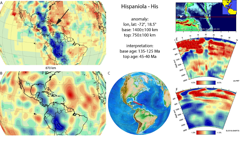 Figure A40. Hispaniola anomaly, interpreted as the Hispaniola slab, with (horizontal) [vertical] cross sections through (A)[D] the UUP07 p-wave) and (B)[D] the combined SL2013 and S40RTS s-wave models at 870 km; C) the location of the modern geological record that we interpret to have formed during the subduction of the slab.