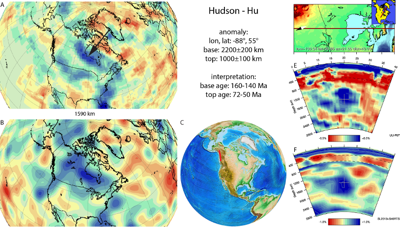 Figure A41. Hudson anomaly, interpreted as the Hudson slab, with (horizontal) [vertical] cross sections through (A)[D] the UUP07 p-wave) and (B)[D] the combined SL2013 and S40RTS s-wave models at 1590 km; C) the location of the modern geological record that we interpret to have formed during the subduction of the slab.