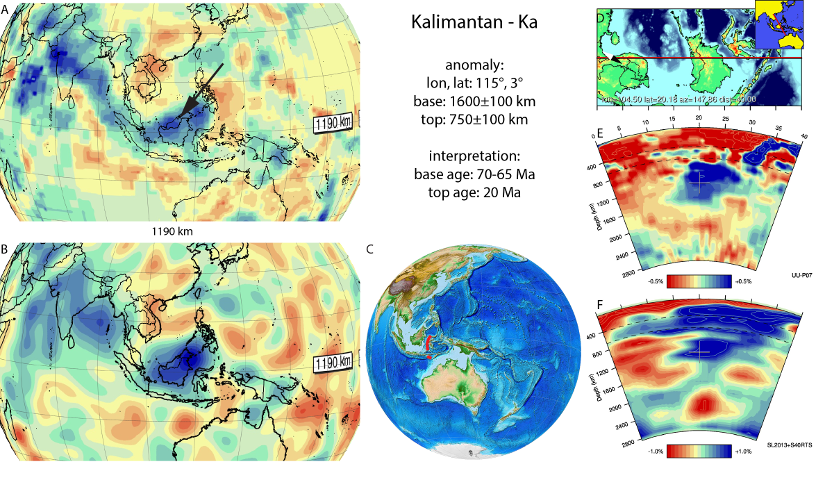 Figure A47. Kalimantan anomaly, interpreted as the Kalimantan slab, with (horizontal) [vertical] cross sections through (A)[D] the UUP07 p-wave) and (B)[D] the combined SL2013 and S40RTS s-wave models at 1190 km; C) the location of the modern geological record that we interpret to have formed during the subduction of the slab.