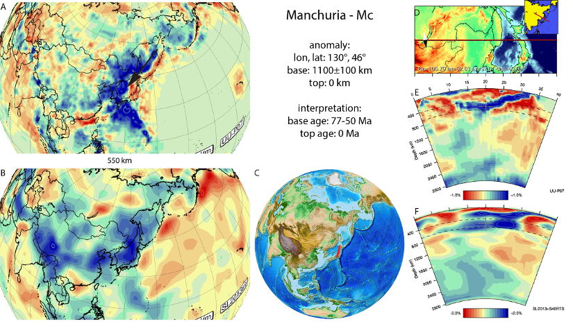 Figure A54. Manchuria anomaly, interpreted as the Manchuria slab, with (horizontal) [vertical] cross sections through (A)[D] the UUP07 p-wave) and (B)[D] the combined SL2013 and S40RTS s-wave models at 550 km; C) the location of the modern geological record that we interpret to have formed during the subduction of the slab.