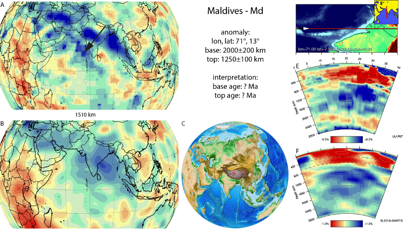 Figure A52. Maldives anomaly with (horizontal) [vertical] cross sections through (A)[D] the UUP07 p-wave) and (B)[D] the combined SL2013 and S40RTS s-wave models at 1510 km; C) the location of the modern geological record that we interpret to have formed during the subduction of the slab.
