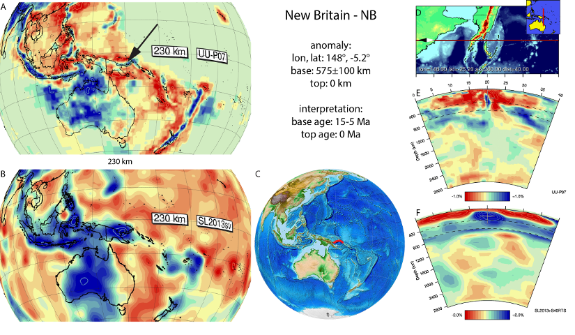 Figure A65. New Britain anomaly, interpreted as the New Britain slab, with (horizontal) [vertical] cross sections through (A)[D] the UUP07 p-wave) and (B)[D] the combined SL2013 and S40RTS s-wave models at 230 km; C) the location of the modern geological record that we interpret to have formed during the subduction of the slab.