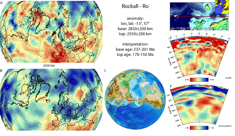 Figure A73. Rockall anomaly, interpreted as the Rockall slab, with (horizontal) [vertical] cross sections through (A)[D] the UUP07 p-wave) and (B)[D] the combined SL2013 and S40RTS s-wave models at 2550 km; C) the location of the modern geological record that we interpret to have formed during the subduction of the slab.
