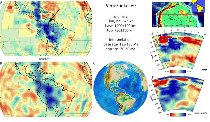 Figure A90. Venezuela anomaly, interpreted as the Venezuela slab, with (horizontal) [vertical] cross sections through (A)[D] the UUP07 p-wave) and (B)[D] the combined SL2013 and S40RTS s-wave models at 1090 km; C) the location of the modern geological record that we interpret to have formed during the subduction of the slab.